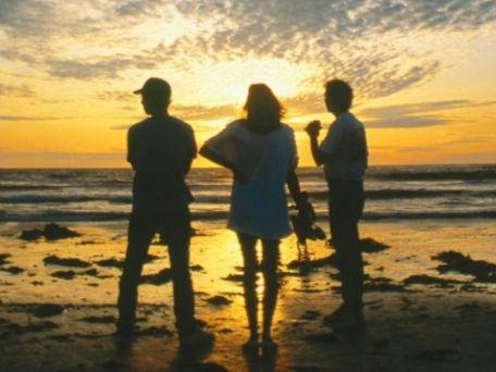 People looking at sunrise